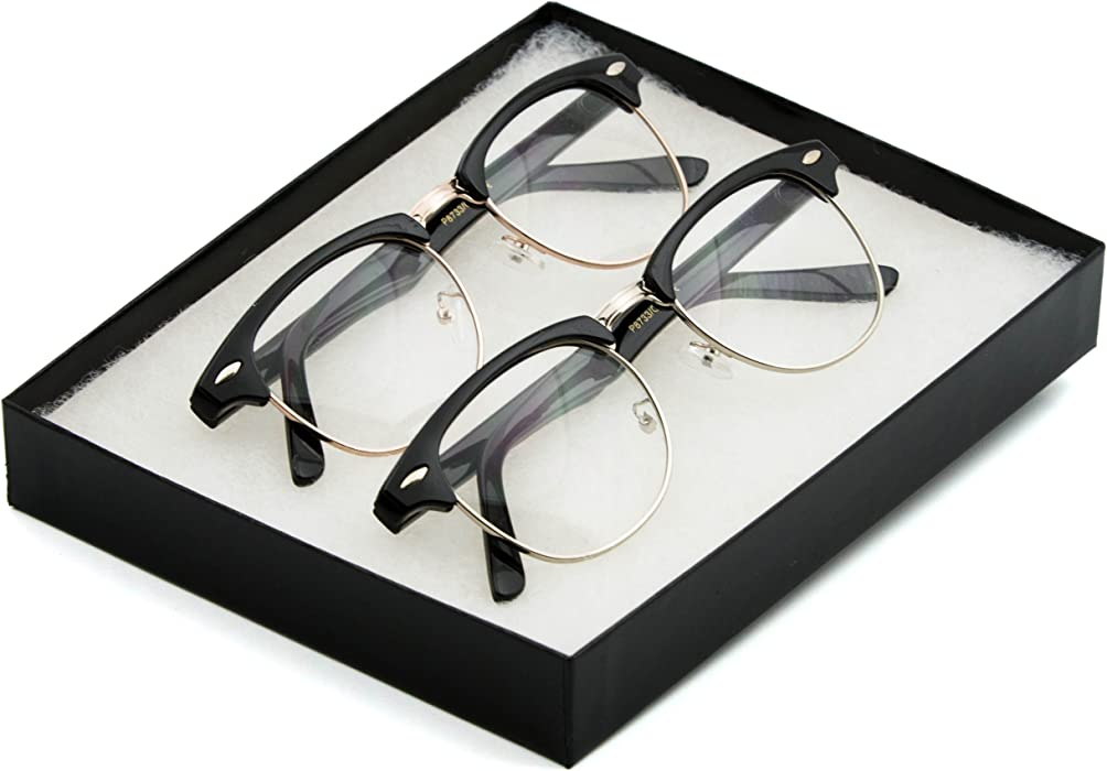 Amazon.com: Vintage Inspired Classic Half Frame Wayfarers Clear Lens ...