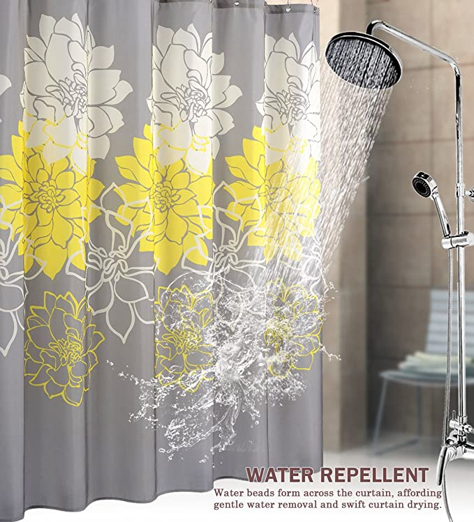 Amazon.com: Wimaha Floral Fabric Shower Curtain, Mildew Resistant ...