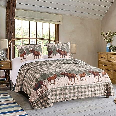 Amazon com: Elk Quilt Set Full/Queen Sized Moose Bedding