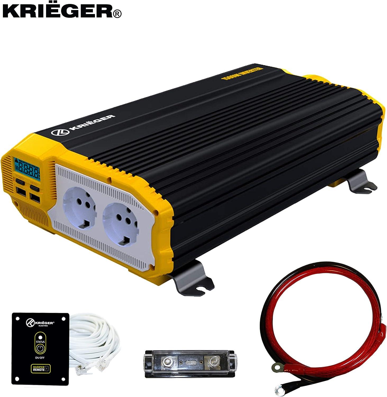 Inversor de Corriente Krieger 1500 Vatios Onda Modificada, Transformador/Convertidor 12V a 220V Portatil para Coche, 2 Puertos USB y 2 Tomas CA, Incluye Kit de Instalación - Aprobado bajo SGS y CE
