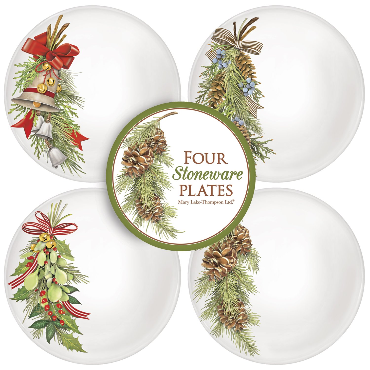 Assorted Branch Stoneware Plate Set