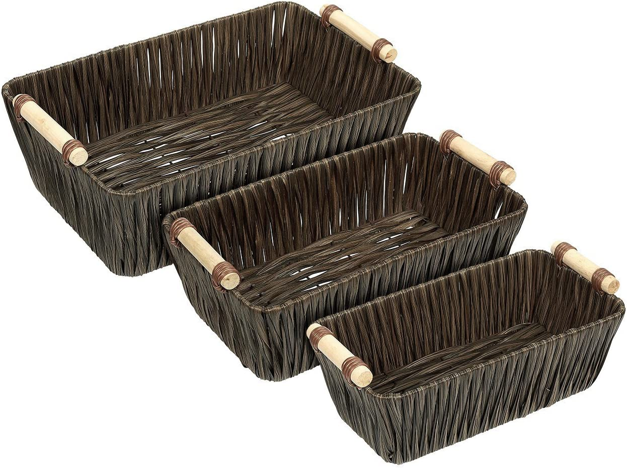 3 Pack Juvale Woven Wicker Baskets With Handles In 3 Sizes For Home Organization Home Kitchen Kolenik Storage Organization