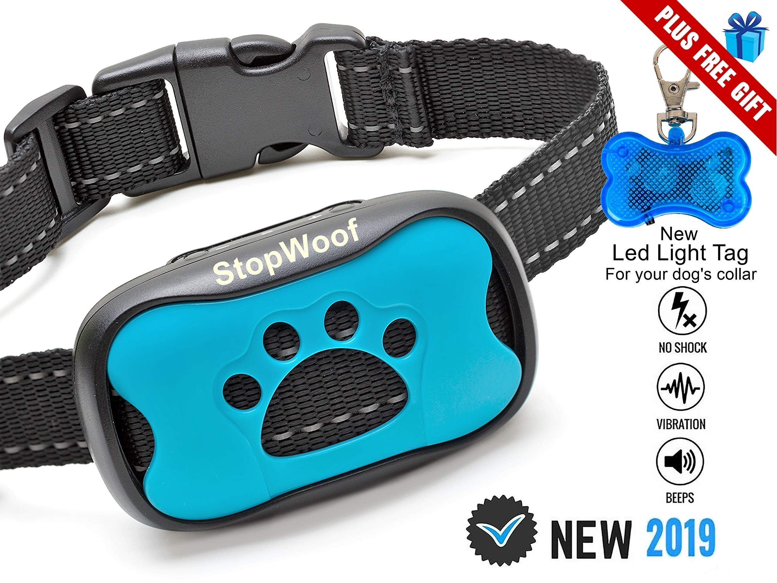 Dog Bark Collar-New Version 2019-Sound & Vibration Humane Training Collar for Small, Medium & Large Dogs- No Shock Safe Pet Waterproof Device-Free!!-New LED Light Tag! by StopWoof