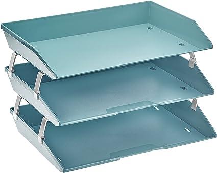 color azul Bandeja para documentos tama/ño A4, alambre y pl/ástico Hago