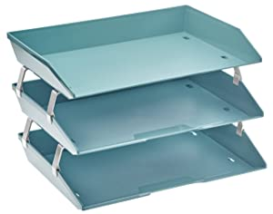 Acrimet Facility 3 Tier Letter Tray Side Load Plastic Desktop File Organizer (Solid Green Color)