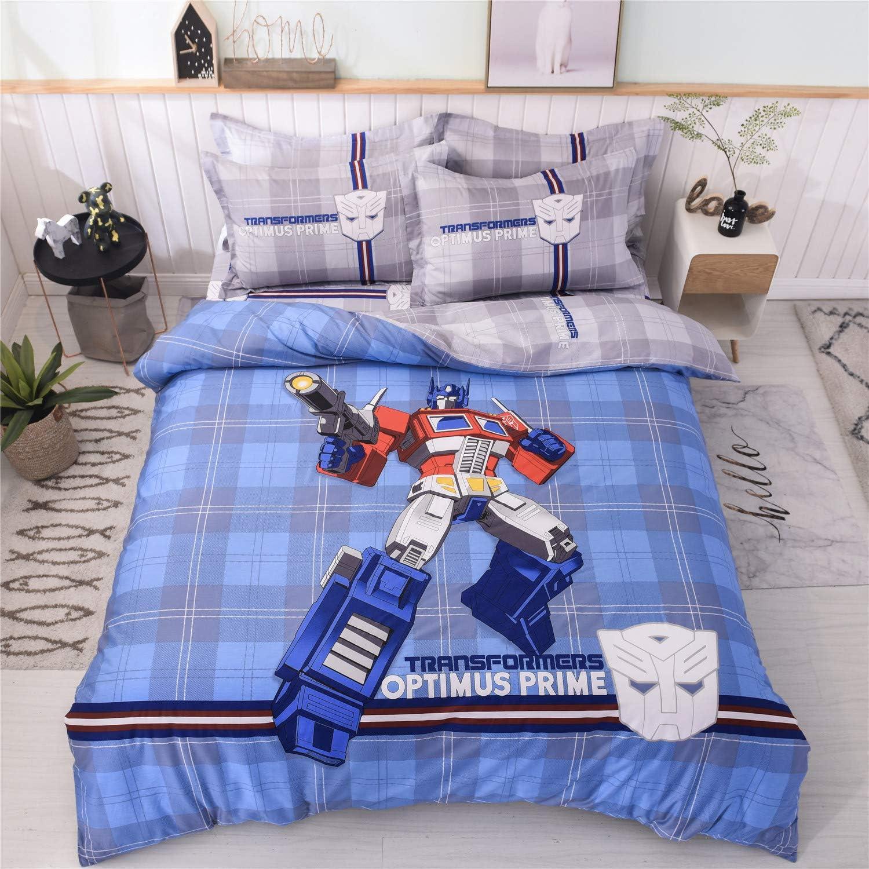 "Cenarious Duvet Cover Set (No Comforter) - 1 Duvet Cover + 1 Flat Sheet + 1 Pillowcase - 100% Cotton - 3 Piece - Twin(61""x80"") - Cartoon Transformers Optimus Prime for Boys - Blue"