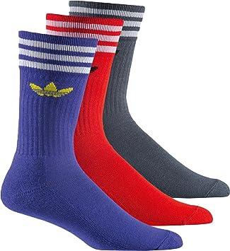 adidas Solid Crew Sock - Calcetines unisex, color azul / rojo / gris, talla