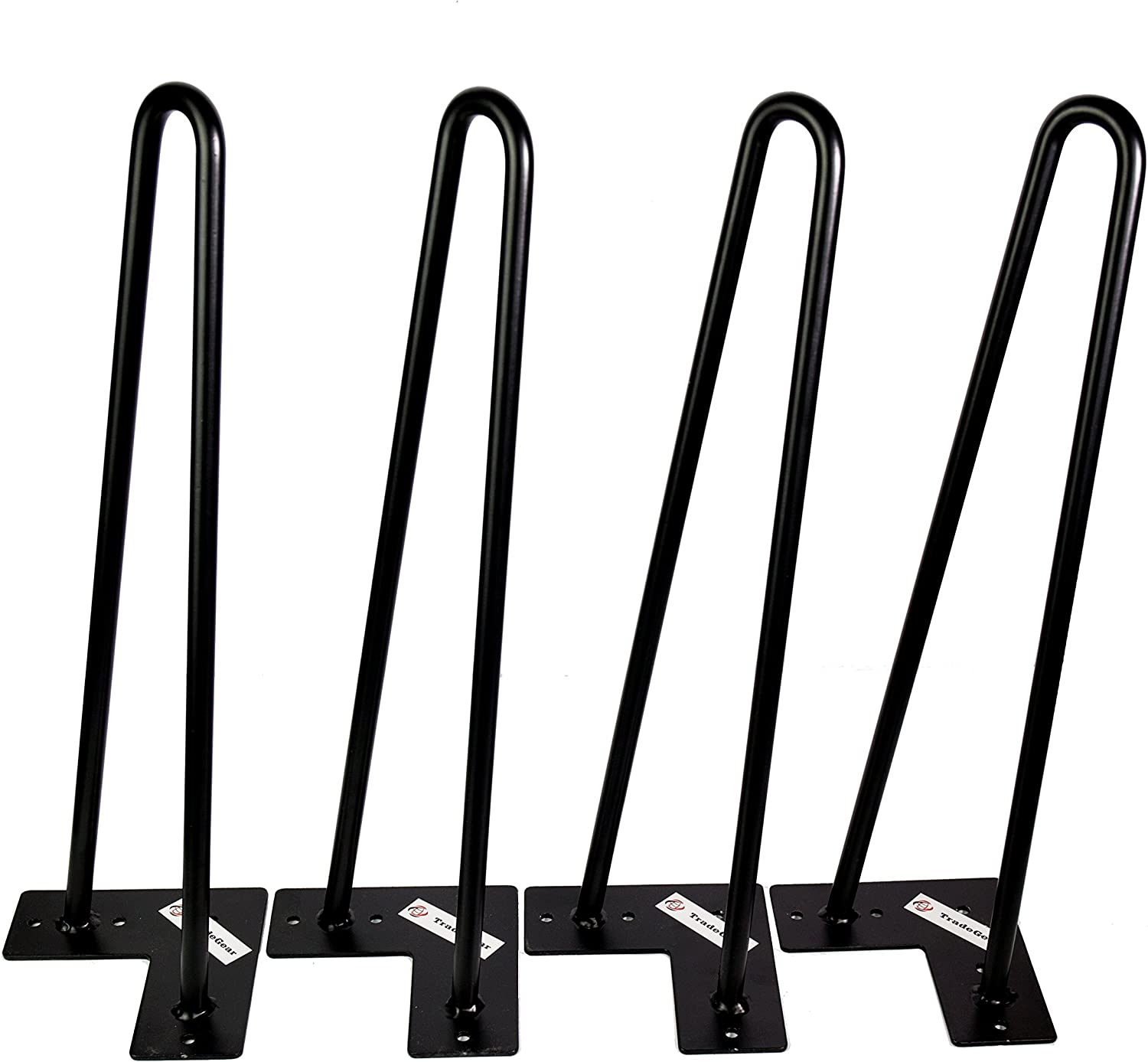 TradeGear Double Rod Hairpin Table Legs, 16 Inch Mid-Century Style Coffee Table Legs, Heavy Duty 1/2 Inch Double Weld Steel with Black Powder Finish, Includes Floor Protector Feet and Screws, Set of 4