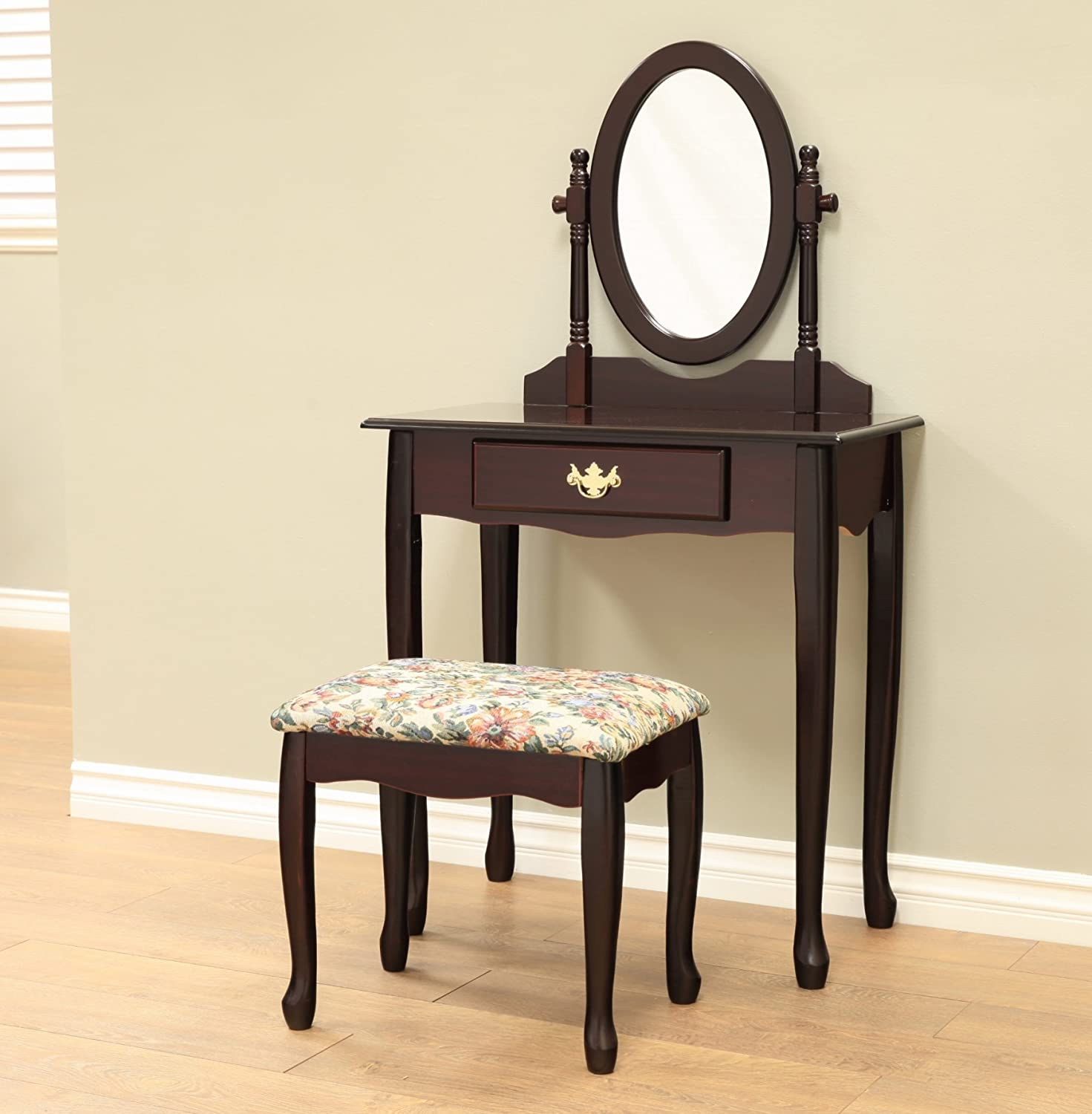 Frenchi Home Furnishing Twopiece Vanity Set with Queen Anne Design Rich Cherry Finish, Espresso