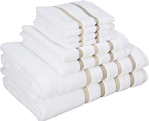 Comfort Spaces Cotton 8 Piece Bath Towel Set Striped Ultra Soft Hotel Quality Quick Dry Absorbent Bathroom Shower Hand Face Washcloths, 28x54, Taupe