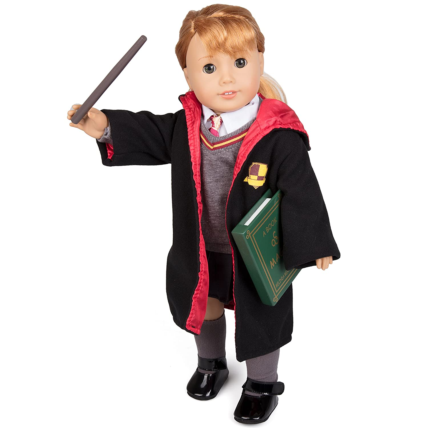 Deluxe Hermione Granger Inspired Doll Clothes for American Girl and 18 Dolls: 9pc Hogwarts like School Uniform Includes- Book, Wand, Robe, Shirt, Skirt, Sweater, Tie, Socks and Shoes Dress Along Dolly