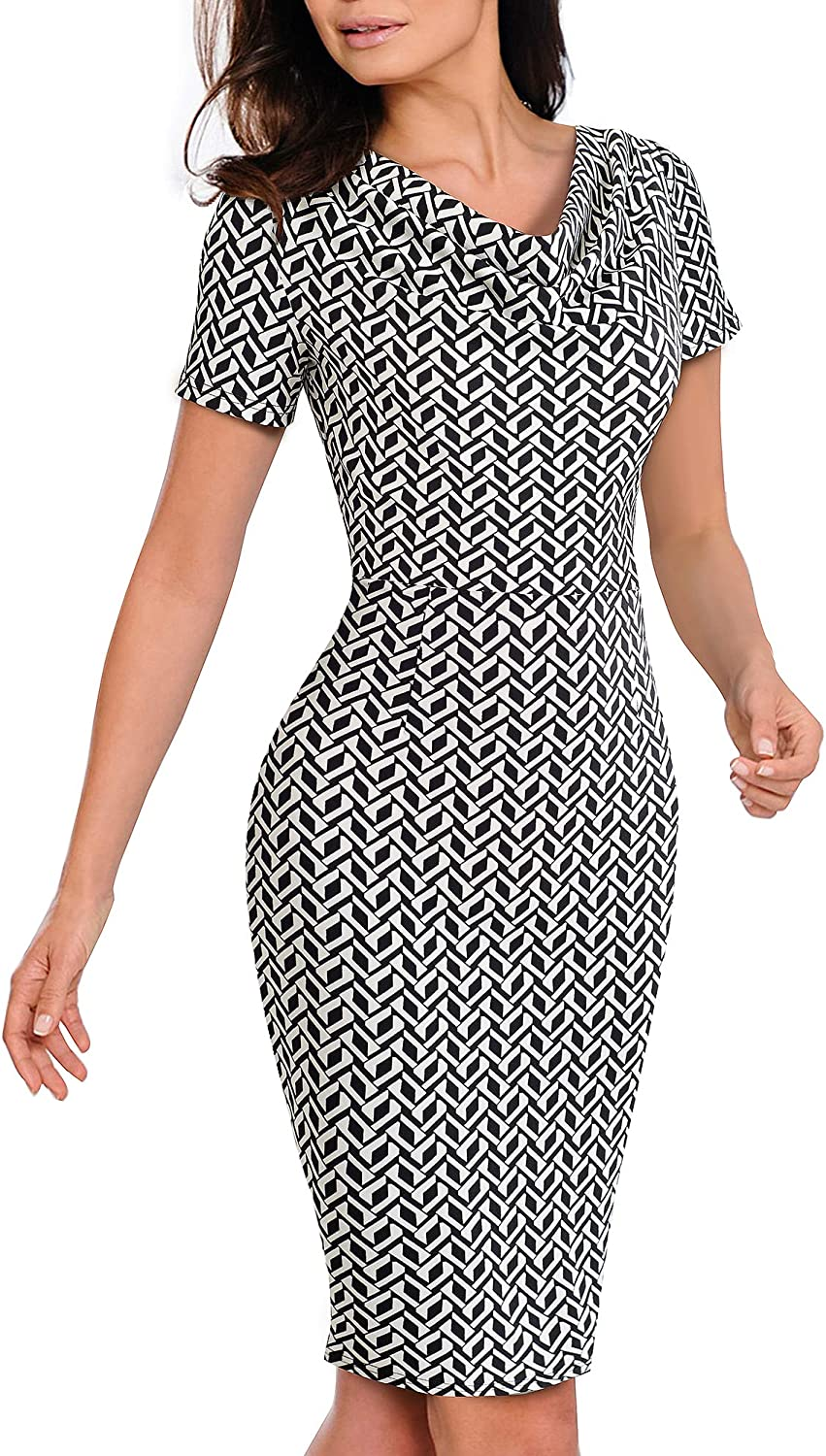 VELJIE Womens Cowl Neck Printed Wear to Work Party Cocktail Dresses