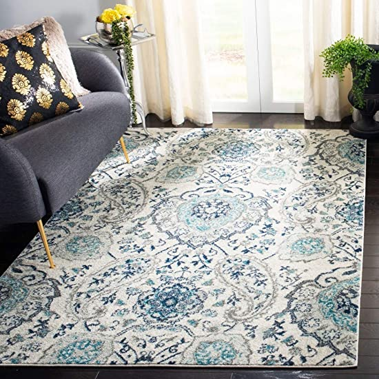 DH 4'x6'ft Cream Light Grey Off White Teal Bohemian Area Rug