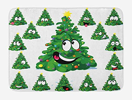 christmas bath mat christmas tree cartoon with star and different funny face expressions plush - Christmas Bathroom Decor Amazon