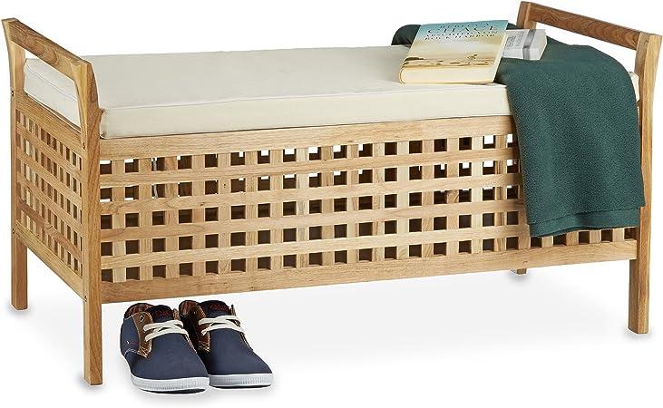 Relaxdays Banc De Rangement En Bois De Noyer Banquette Assise Coffre De Rangement Meuble A Chaussure Commode Coussin Hxlxp 46 5 X 92 6 X 49 Cm Blanc