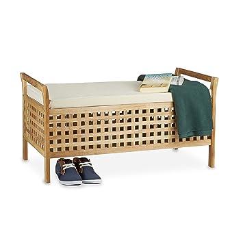 6f7b7e5741a045 Relaxdays Banc de rangement en bois de noyer banquette assise coffre de rangement  meuble à chaussure