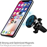 Amkette iGrip Magnetic Air Vent With 6 Optimized Magnets & Double Spring Clamp Car Mount (Black)