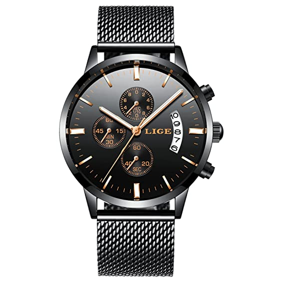 Reloj de Hombre,Relojes,Acero Inoxidable Negro Clásico Lujo Business Casual Relojes con Calendario