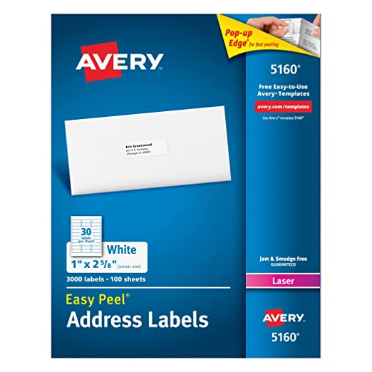 Avery Easy Peel White Mailing Labels for Laser Printers, 1 x 2.62 ...