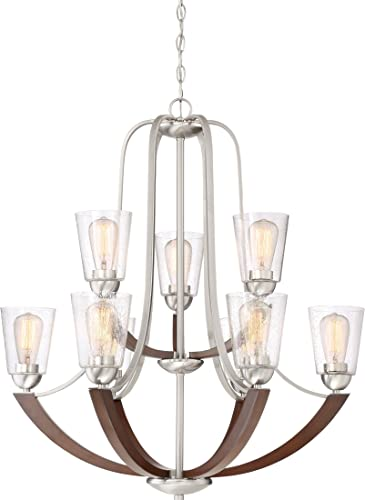 Quoizel HE5009BN Holbeck Wood Chandelier, 9-Light, 900 Watts, Brushed Nickel 34 H x 31 W