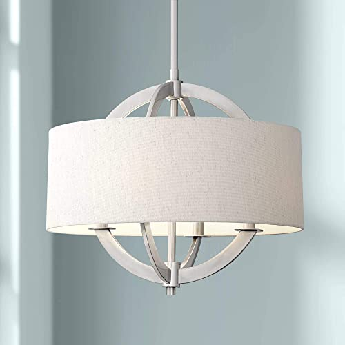 Saturna Brushed Nickel Drum Pendant Chandelier 21 Wide Modern Oatmeal Linen Shade 4-Light Fixture for Dining Room House Foyer Kitchen Island Entryway Bedroom Living Room – Possini Euro Design