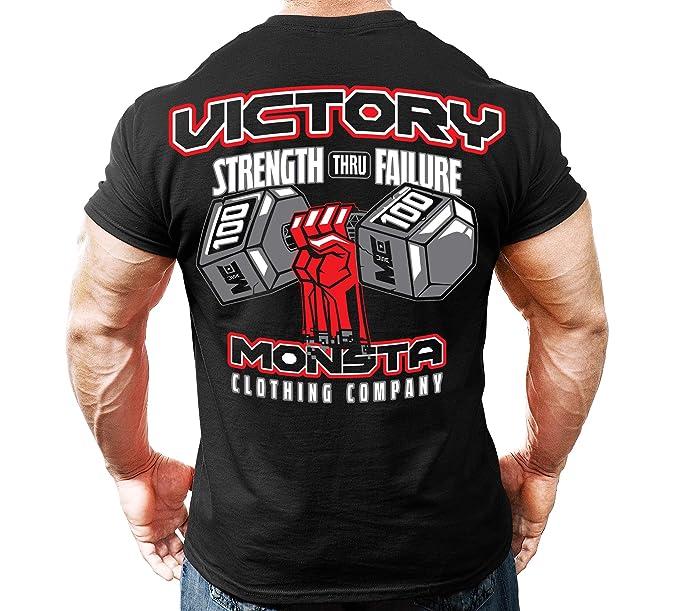 88cc3e3381f0 Monsta Clothing Co. Men's Bodybuilding Workout (Victory) Gym T-Shirt (G:BK)