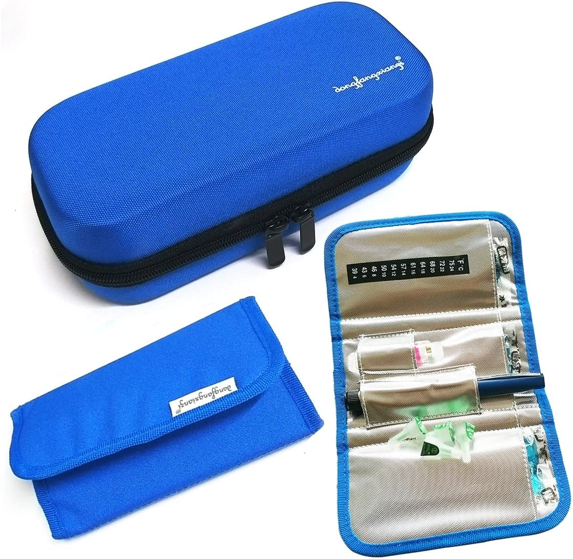 MeliMe Insulin Cooler Travel Case, Diabetic Medical Cooling Pack for Parements, Waterproof with 3 Ice Packs (Blue)