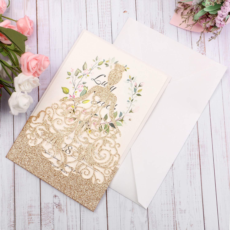 HIGHYI Wedding Invitation Card-Laser Cut Rose Gold Glitter Hollow Bride 25PCS Paper Card Set For Wedding Engagement Birthday Baby Shower Dinner (DIY Blank Inner Sheet) by HIGHYI (Image #8)