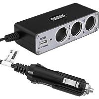 mumbi Autolader stopcontact - multifunctionele 3-voudige verdeler + USB-aansluiting voor sigarettenaansteker 12 V / 24 V