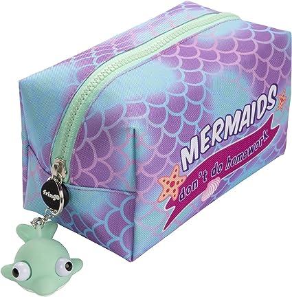 Estuche grande cuadrado para lápices con cierre de cremallera de Fringoo® , color Mermaids Dont Do Homework Large: Amazon.es: Oficina y papelería