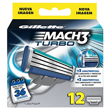Gillette MACH3 Turbo Hojas De Afeitar Para Hombre, 12 Unidades