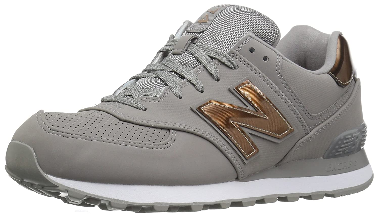 New Balance Women's 574v1 Varsity Sport Sneaker B01NBA9T34 9 D US|Grey/Metallic Silver