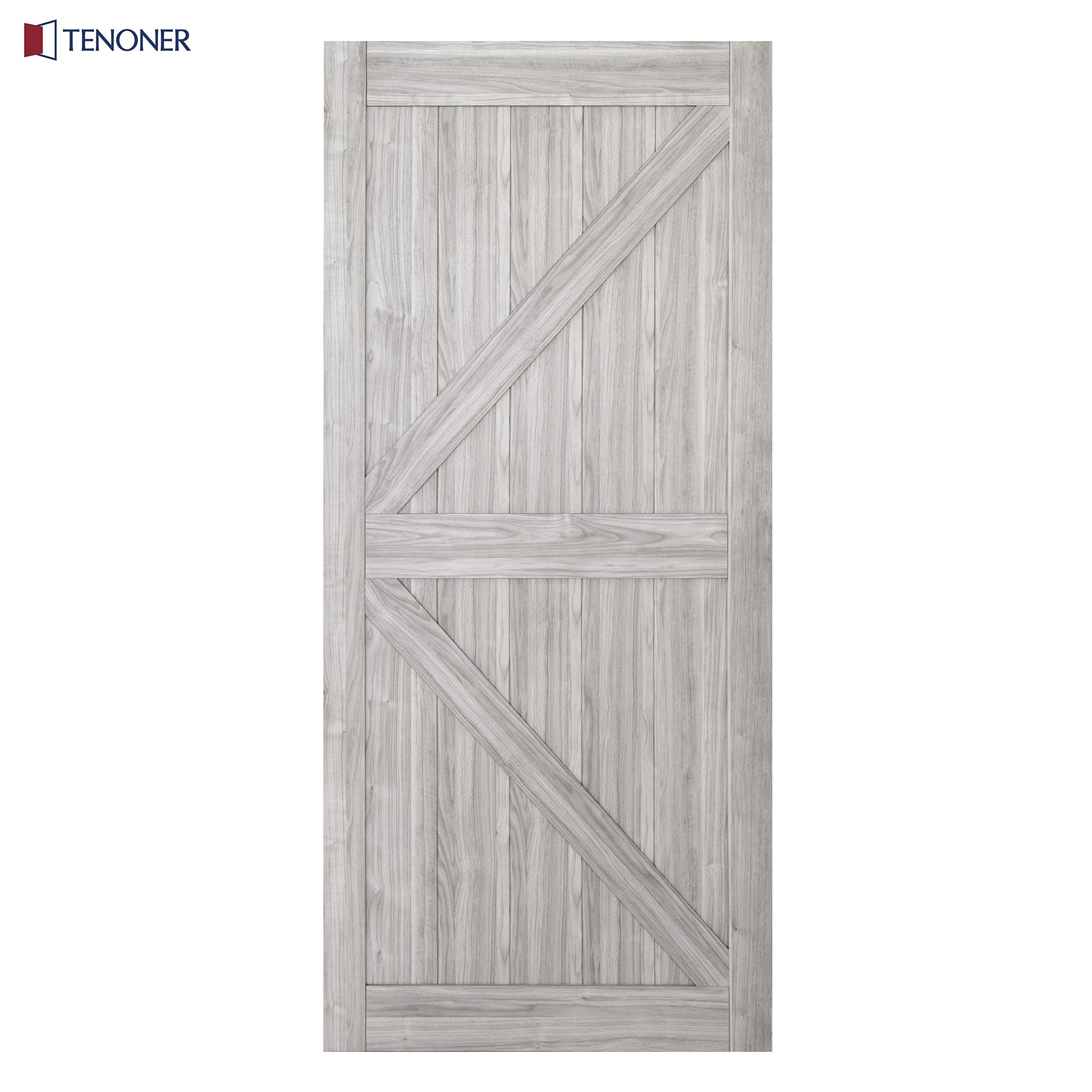 TENONER 36in x 84in Grey K-Frame Sliding Barn Door, 6.6ft Barn Door Hardware Kit & Handle Included by TENONER (Image #3)