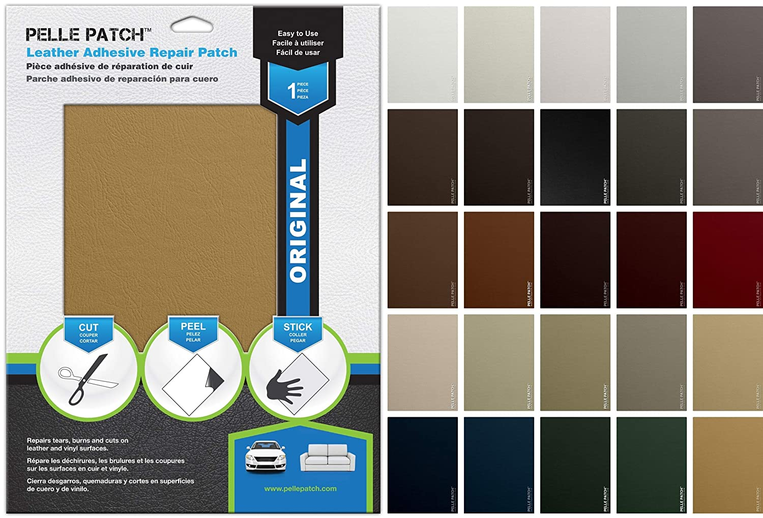 25 Colors Available Heavy-Duty 8x11 Black Leather /& Vinyl Adhesive Repair Patch Pelle Patch