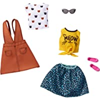 Barbie Fashions 2-Pack Clothing Set, 2 Outfits for Barbie Doll Include White Tee with Kitty Print, Yellow Meow Tie Shirt…