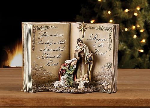 Napco Imports Holy Family Bible Nativity Scene Resin Stoneware Christmas Decoration Figurine