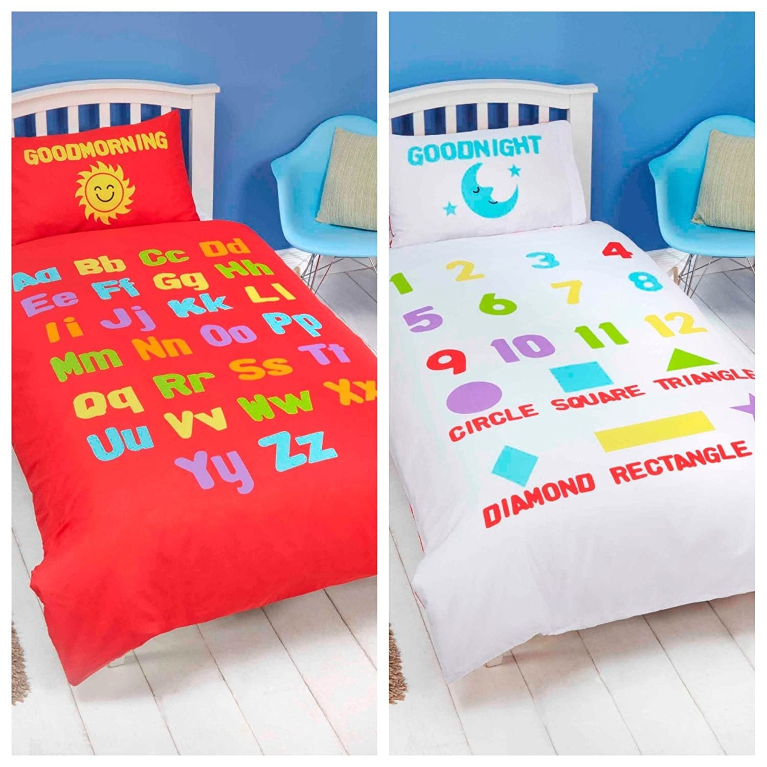 Bedding Heaven ALPHABET, NUMBERS Red White Duvet Cover - Fully Reversible - Cot Bed, Junior, Toddler Bed Size Rapport