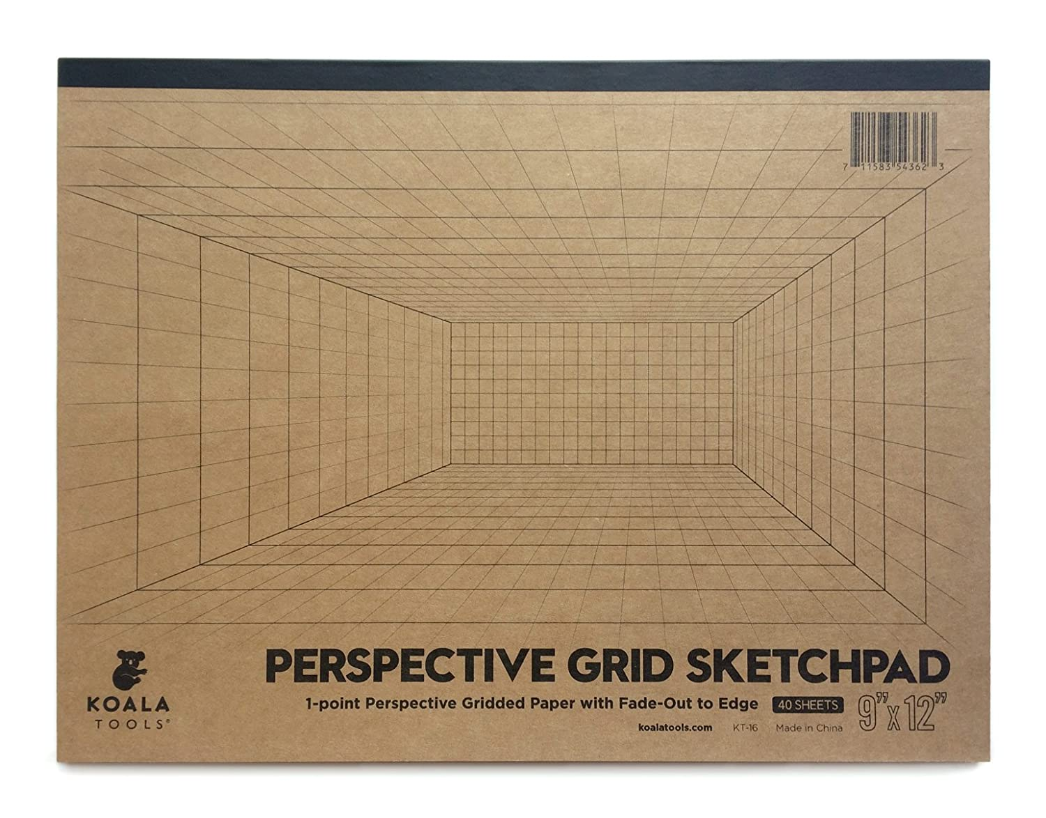 "Koala Tools | Room Grid (1-Point) Large Sketch Pad | 9"" x 12"", 40 pp. - Perspective Grid Graph Paper for Interior Room Design, Industrial, Architectural and 3D Design"