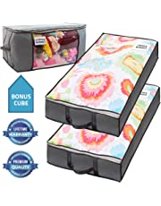 SmartCubePlus Underbed Storage Bag – 2 Large 39x18x6 in. Under-the-Bed Storage Containers with Reinforced Handles and Metal Zippers – Foldable Under-Bed Storage Bin Bags and Containers by Nest Neatly