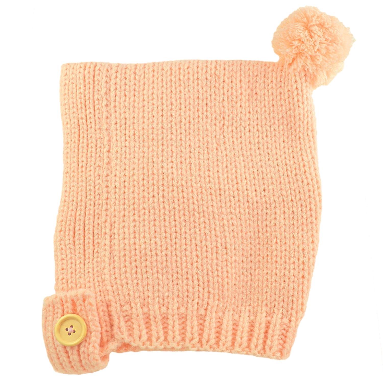 Fmeida Winter Knitted Fleece Lined Hat Warm Bonnet Cap for Baby Girls