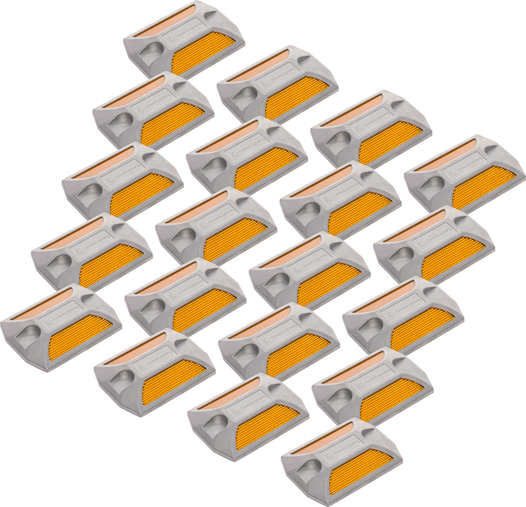 GreenLighting 20 Pack Yellow Reflective Road Studs - Commercial Grade Heavy Duty Aluminum Road Pavement Markers