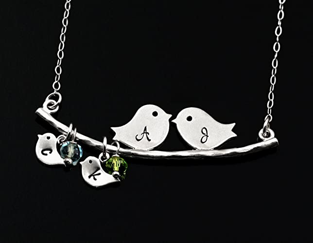 Mother's Personalized Birthstone Necklace . Mom and Baby Birds . Customize Your Initials . Sterling Silver