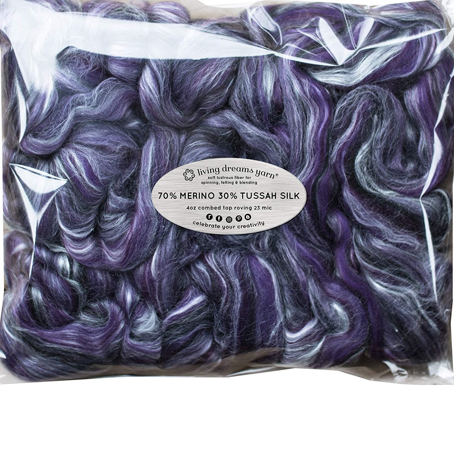 Silk Merino Fiber for Spinning. Super Soft Combed Top Wool Roving for Hand Spinning, Wet Felting, Nuno Felting, Needle Felting, Soap Making, Paper Making and Embellishments. Night Out Living Dreams Yarn GBFibMTSSnightout