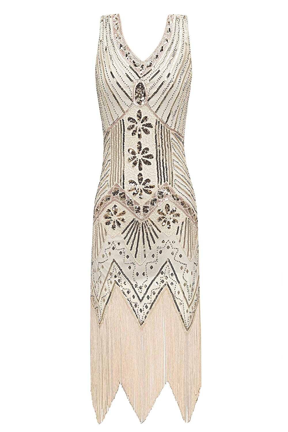 1920s Downton Abbey Dresses Metme Womens 1920s V Neck Beaded Fringed Gatsby Theme Flapper Dress for Prom £47.99 AT vintagedancer.com
