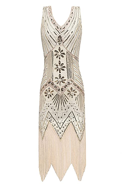 1920s Evening Dresses & Formal Gowns Metme Womens 1920s V Neck Beaded Fringed Gatsby Theme Flapper Dress for Prom $48.99 AT vintagedancer.com
