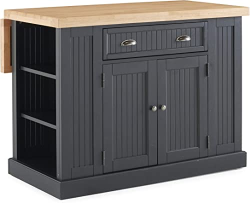 Nantucket Black Kitchen Island with Natural Wood Top by Home Styles