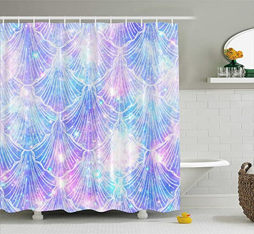 "72/"" Mermaid Tail Scales Fabric Shower Curtain Home Bathroom Decor Peacock Green"