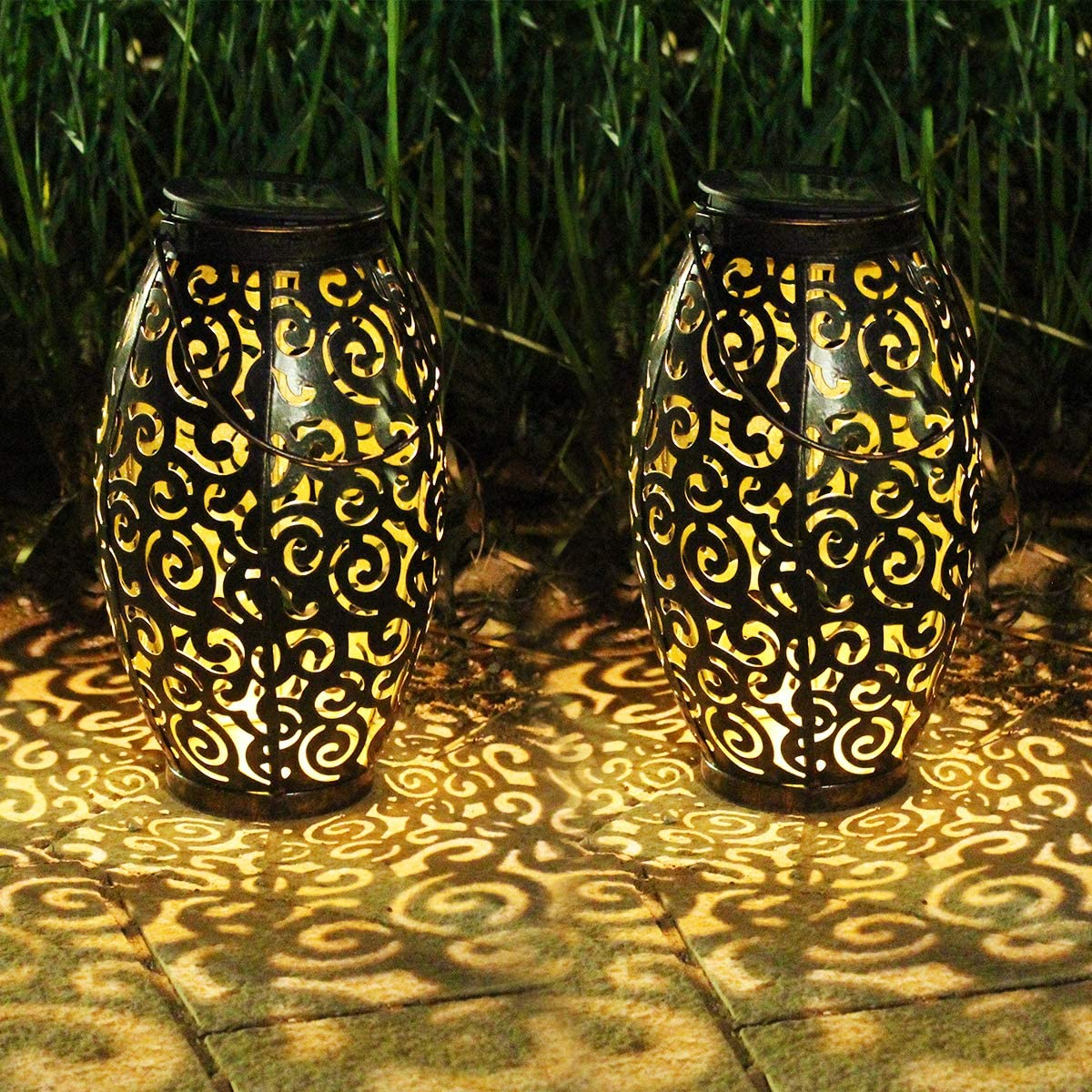 Solar Lanterns Outdoor Hanging,2 Pack Solar Moroccan Lantern Garden Outdoor Solar Lights with Handle Retro Metal Waterproof for Patio,Yard,Pathway Decorations (White-Tree Hollow)