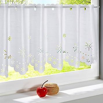 Genial HongYa Weiße Scheibengardine Kurzstore Halbtransparente Küche Gardine Mit  Blumen Muster Lasercut H/B 60/