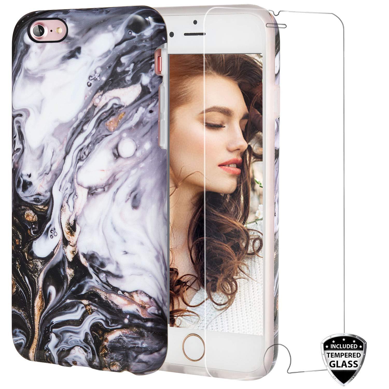 iPhone 7ケース、ガラススクリーンプロテクター付きiPhone 8ケース、女の子のためのREEJAXかわいいブラックゴールドマーブル女性最高の保護スリムフィットクリアバンパー光沢のあるTPUソフトシリコンカバーiPhone 7/8用電話ケース   B07MBPVCVR